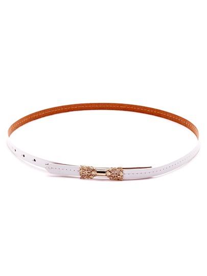 White Hollow Metal Bow Skinny Belt