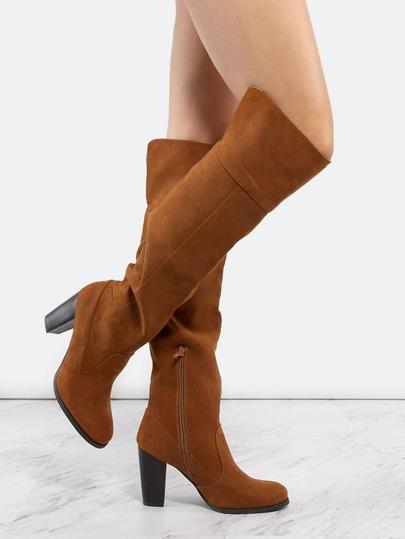 Suede Stacked Heel Knee Boots COGNAC