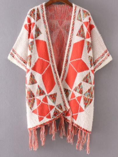 White Geometric Pattern Fringe Poncho Sweater