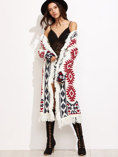 White Tribal Pattern Drop Shoulder Fringe Sweater Coat