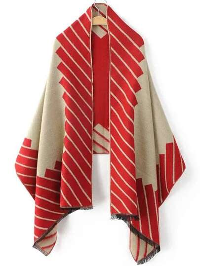 Red Graphic Pattern Frayed Scarf