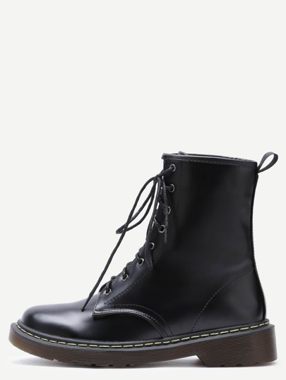 Black Faux Leather Lace Up Rubber Sole Martin Boots