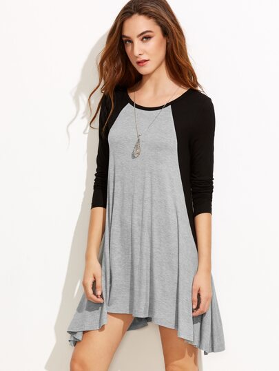 Heather Grey Contrast Raglan Sleeve Swing Tee Dress
