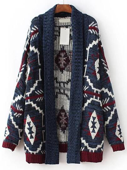 Blue Tribal Print Open Front Sweater Coat