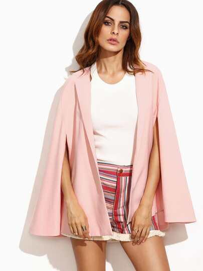 Pink Open Front Cape Blazer
