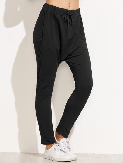 Pantalons sarouels taille coulissée - noir