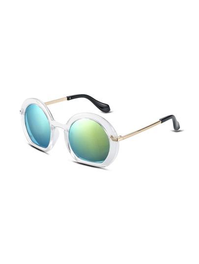 White Frame Large Lens Gold Arm Sunglasses