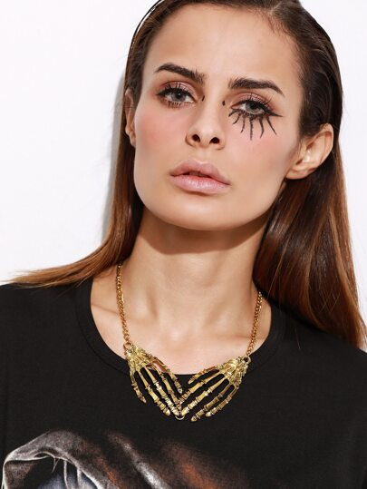 Gold Chain Skull Hands Necklace