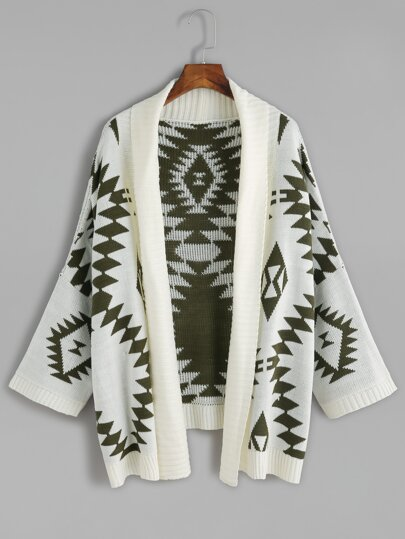 Green Batwing Long Sleeve Geometric Cardigan Sweater