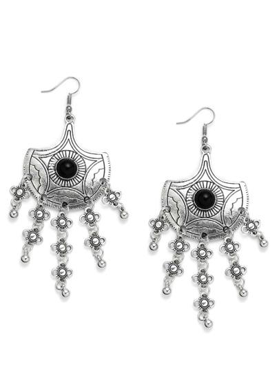 Silver Fan-shaped Lines Gemstone Duster Earrings