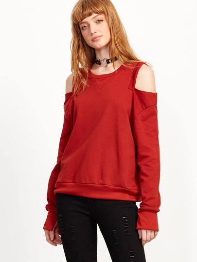 Red Open Shoulder Split Sweatshirt