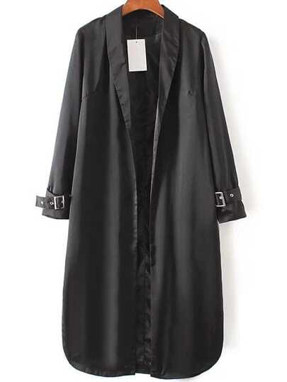 Black Shawl Collar Flower Embroidery Side Slit Trench Coat