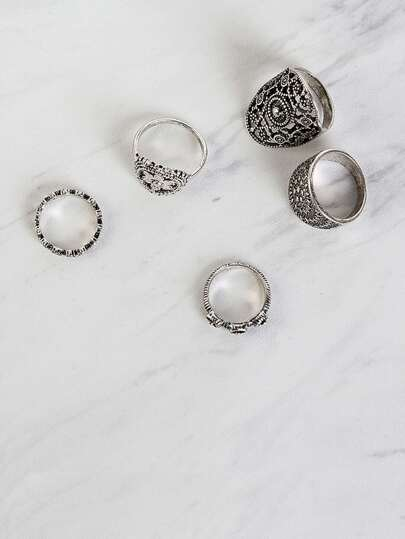 Engraved Ring Set SILVER