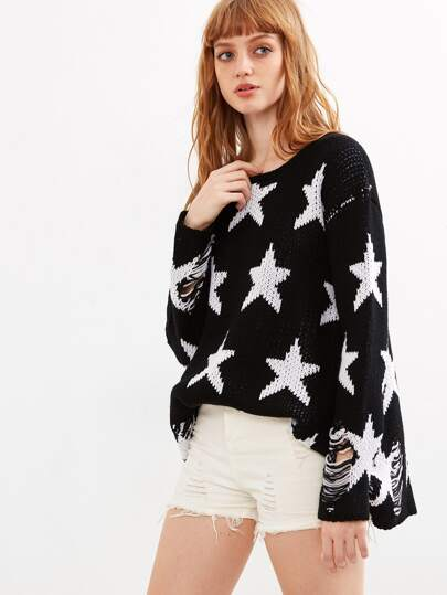 Black Star Pattern Ripped Sweater