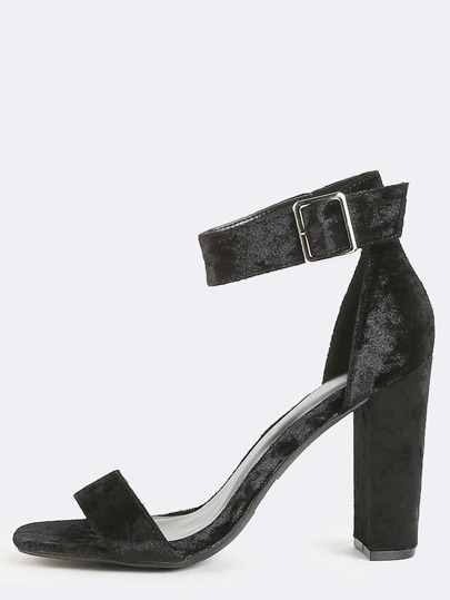 Crushed Velvet Chunky Heels BLACK