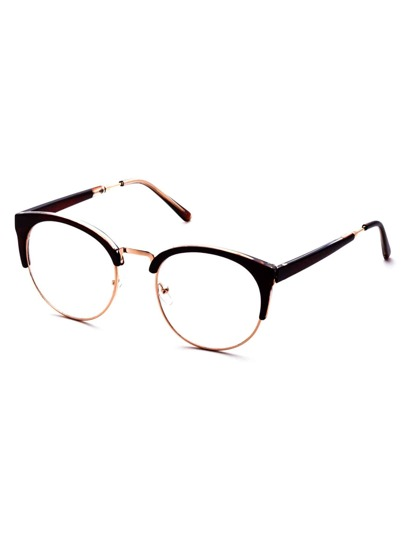 Brown Frame Semi Rimless Metal Trim Glasses