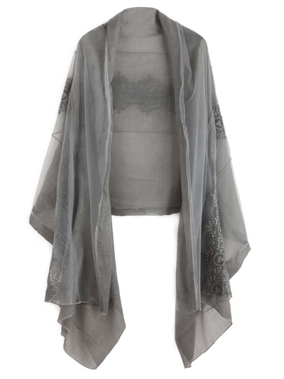 Grey Lace Voile Scarf