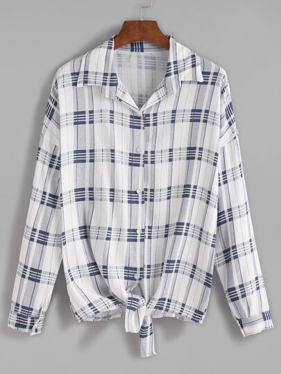 Blue Plaid Tie Front Drop Shoulder Seam Blouse