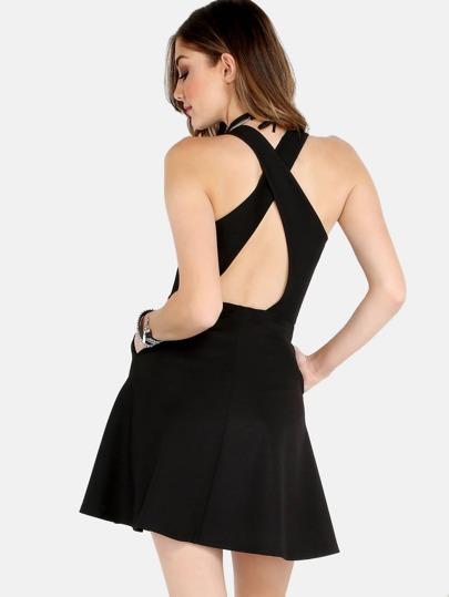 Backless Crossback Skater Dress BLACK
