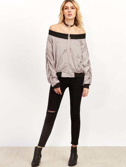 Contrast Trim Shirred Sleeve Jacket