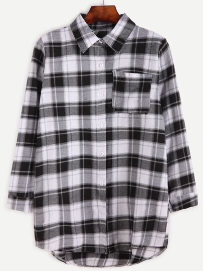 Gingham High Low Pocket Shirt