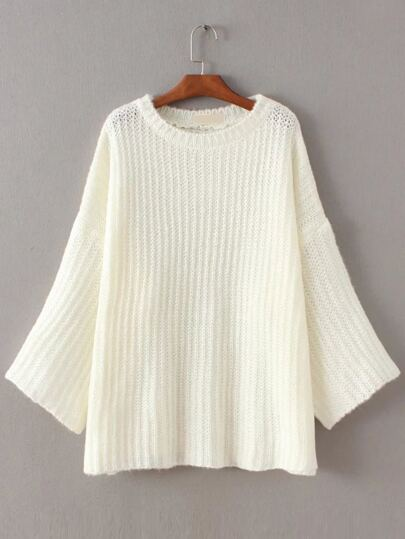 White Drop Shoulder Slouchy Sweater