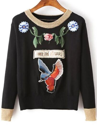 Black Bird Embroidery Contrast Trim Sweater