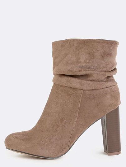 Slouchy Chunky Heel Ankle Boots TAUPE