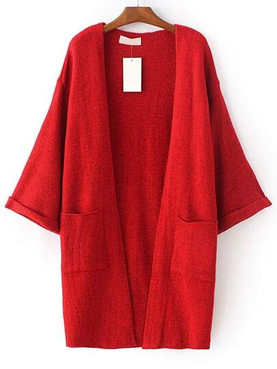 Red Roll Cuff Split Side Pocket Cardigan