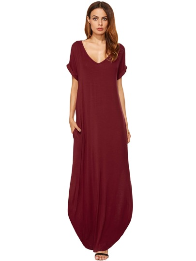 Bolsillos rojos con pliegues rojizos Split Maxi Dress