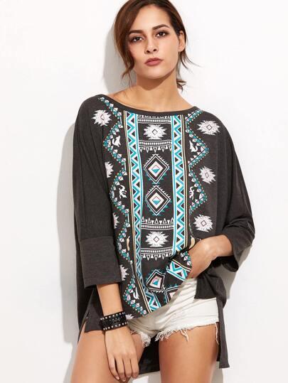Dark Grey Tribal Print Scoop Neck High Low T-shirt