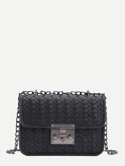Black Woven PU Flap Chain Bag