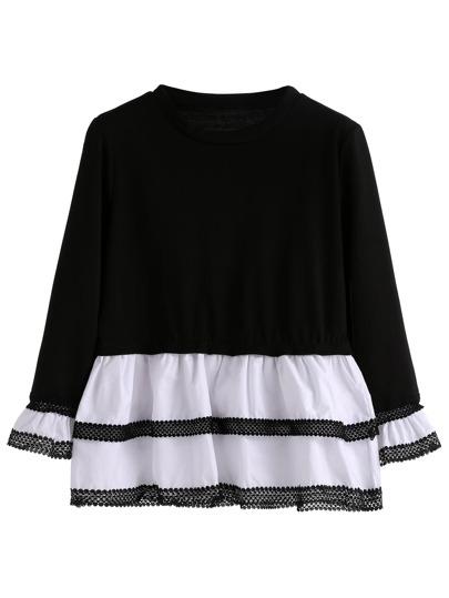 T-shirt mit Schößchen Saum Kontrast Spitze -schwarz und weiß