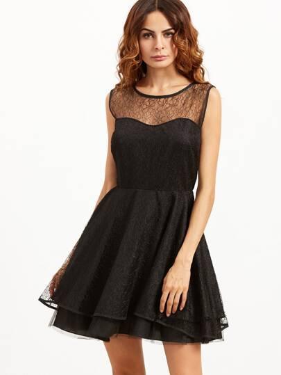 Black Sleeveless Layered Lace Dress
