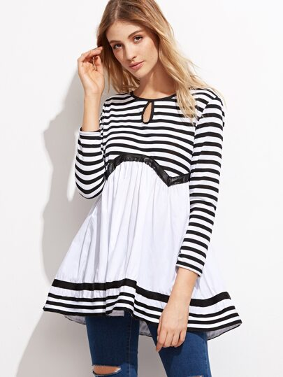 Contrast Striped Keyhole Front Peplum Blouse