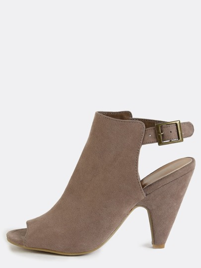 Slingback Cone Heel Ankle Boots TAUPE