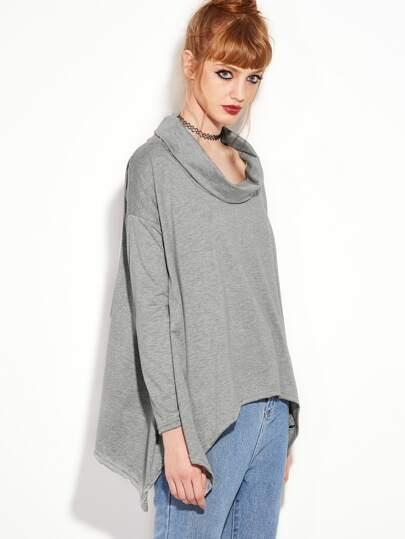 Camiseta asimétrica con cuello vuelto - gris