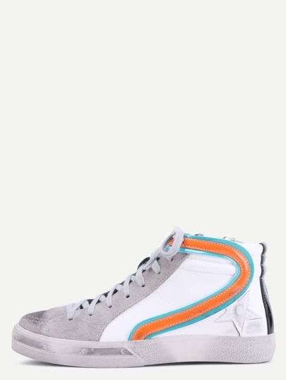 Chaussures à lacets bimatière
