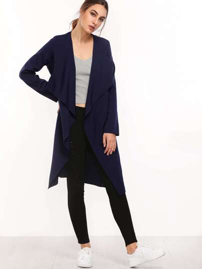 Navy Lapel with Pocket Long Outerwear