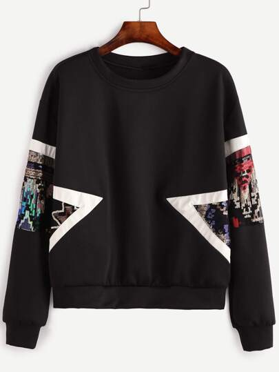 Black Contrast Trim Sequin Sweatshirt