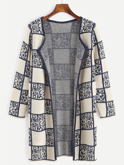 Apricot QR Code Pattern Collarless Sweater Coat