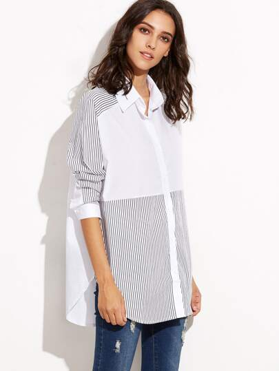 White Contrast Striped Curved Hem Shirt