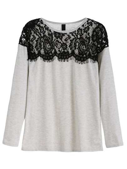Grey Contrast Lace T-shirt
