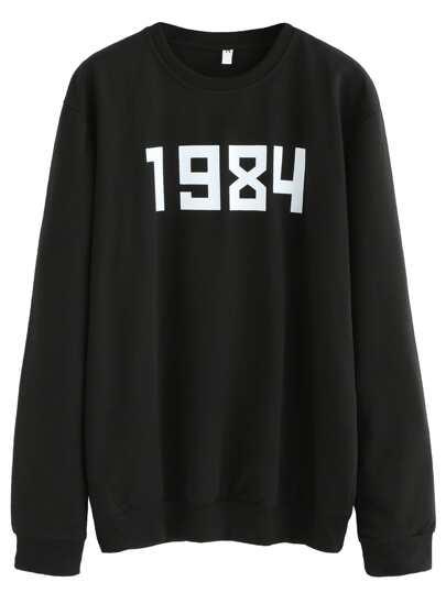 Black Number Print Sweatshirt