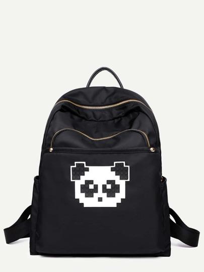 Black Pixel Panda Print Nylon Backpack