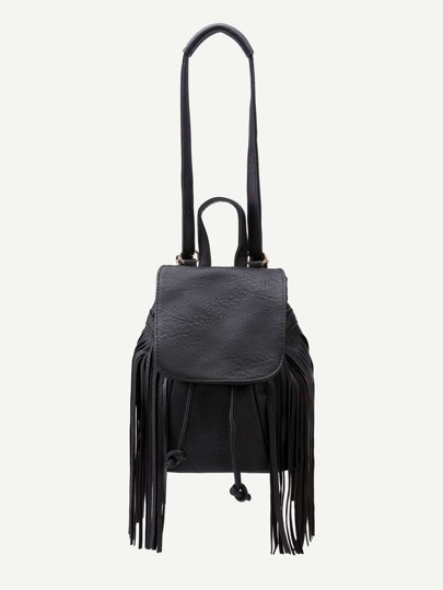 Black Faux Leather Tassel Fringe Drawstring Flap Bucket Bag