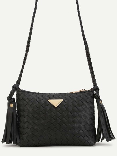 Black Woven PU Tassel Trim Crossbody Bag