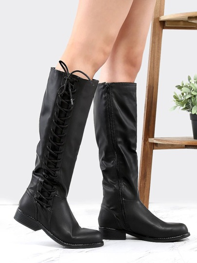 Vegan Leather Side Lace Boots BLACK