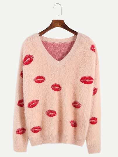 Pink Lip Pattern Fluffy Sweater