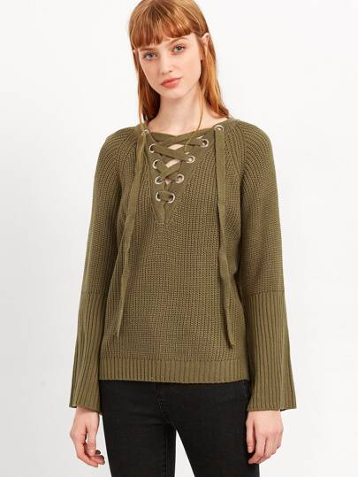 Army Green Eyelet Lace Up High Low Sweater